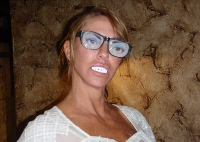 patient with glasses and funny teeth